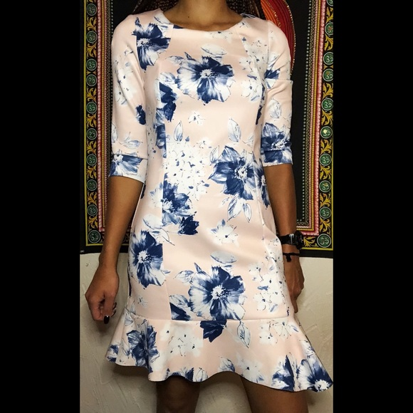 332b6bd5 Zara Dresses | Xs 34 Sleeve Pink And Blue Floral Dress | Poshmark